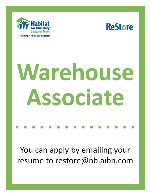 In Need Of Warehouse Associate  Habitat For Humanity  Saint John